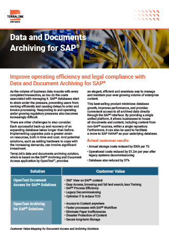 Data and Documents Archiving for SAP